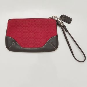 Coach Red and Brown Leather Trim Wristlet